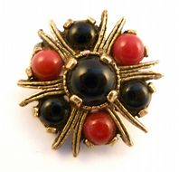 Vintage Scottish Style Faux Gem Brooch By Miracle.